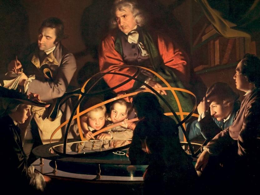 """Oplysningstidens idealer omsat i kunst i Joseph Wrights billede """"En filosof forelæser om et planetarium"""". Lyset spreder sig symbolsk ud mod tilhørernes ansigter."""