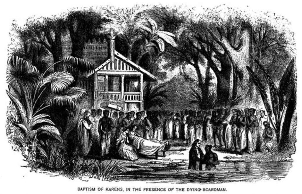 Adoniram Johnson (1788-1850) virkede som missionær i Burma i næsten 40 år og var den første missionær, som nåede Karén-folket med evangeliet (se billedet).